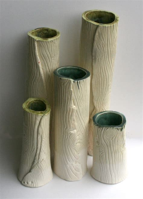 Handmade Vases - handmade ceramics wood grain mugs and vases look