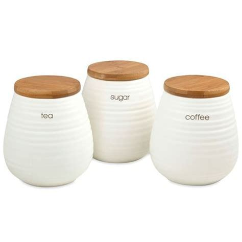 White Canister Sets Kitchen davis amp waddell tea coffee and sugar canister set 3pce