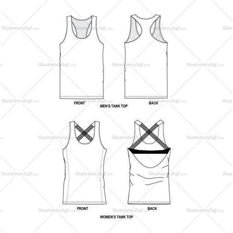 Tank Tops Men Women Fashion Flat Template Tech Pack Template Vector