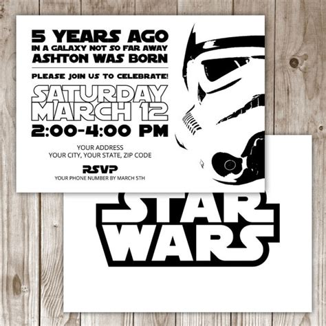 Digital File Star Wars Invitation By Wildtreeboutique On Etsy Star Wars Party Pinterest Wars Save The Date Templates