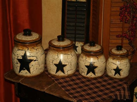primitive kitchen canister sets country farm house vintage primitive star canister set