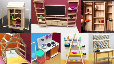 easy popsicle stick crafts  dollhouse furniture