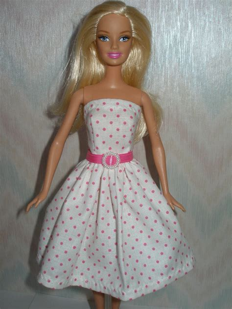 Handmade Doll Clothes - handmade doll clothes white and pink dot dress
