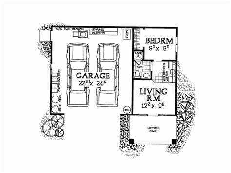 one bedroom floor plans with garage eplans garage plan garage and studio apartment 321