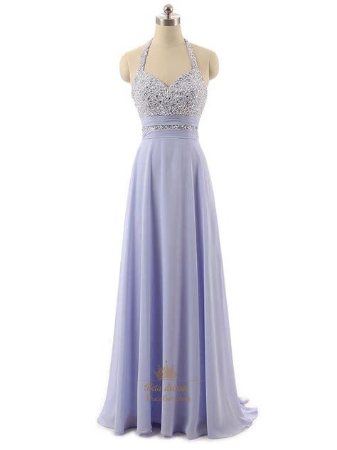 beaded halter prom dress lavender beaded bodice halter neck chiffon formal dress