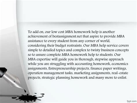 Low Cost Mba by Ppt Business Plan Homework Help Powerpoint Presentation