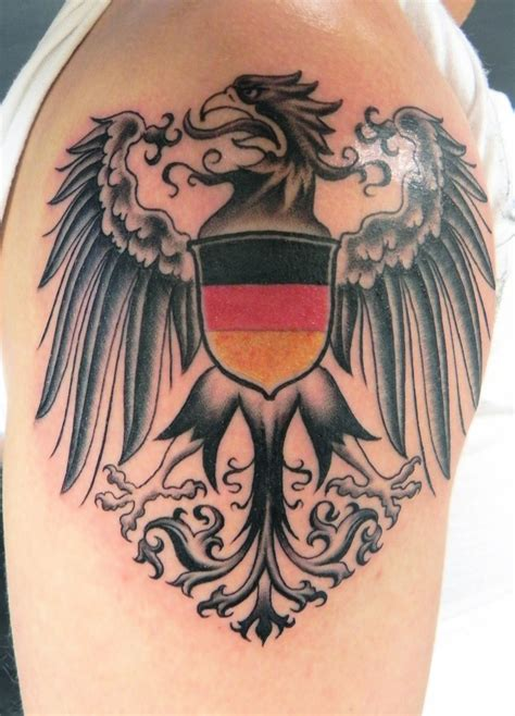 german tribal tattoos crest eagle on my left shoulder i the flag being