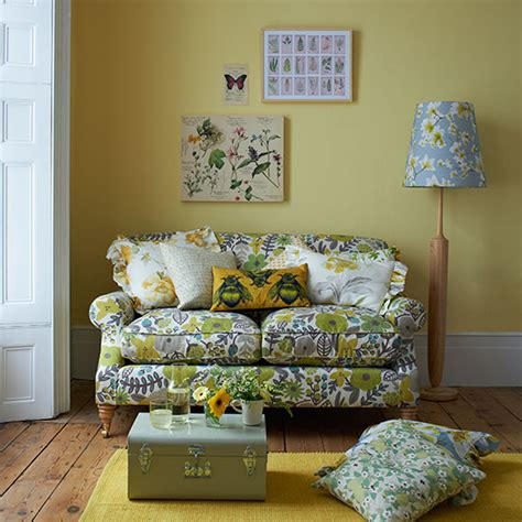 floral couch living room yellow country style living room with floral sofa living