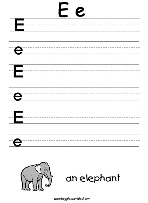 have fun learning english the letter e