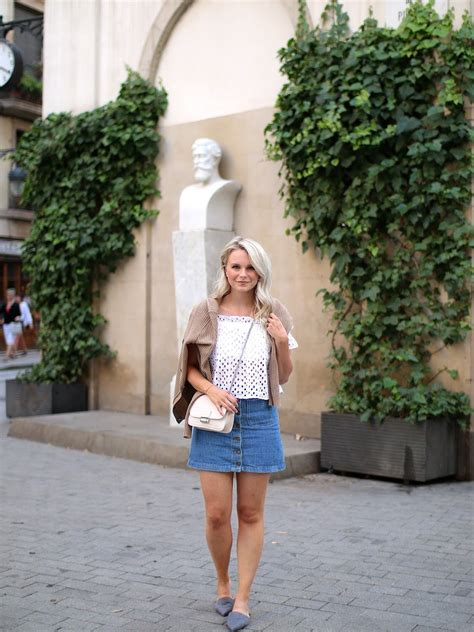 simple summer outfit  denim skirt andrea clare