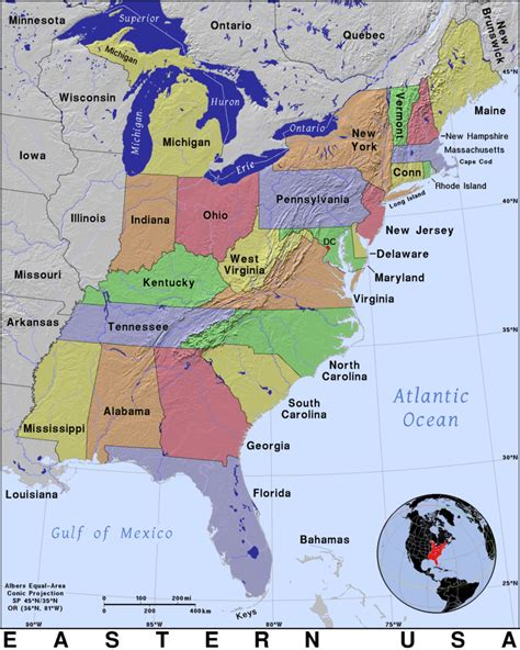 map us east east coast united states map