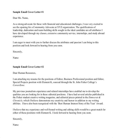 Cover Letter For Emailed Resume by Cover Email Sle Resume Letter