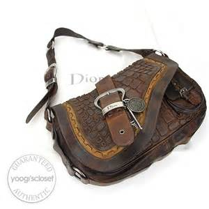 Gaucho Croc Sted Patent Bag by Christian Limited Edition Brown Croc Embroidered