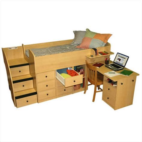 Boys Bunk Beds With Desk Boys Loft Bed With Desk Captain S Bed With Desk Shown In Maple Click To Enlarge