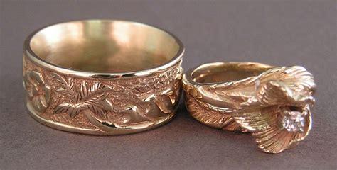 Story Rings custom story wedding rings in 14kt gold