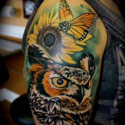 night owl tattoo yelp owl and monarch butterfly tattoo by roger ladouceur star