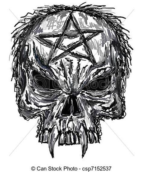 stock illustrations of skull sketch of evil skull