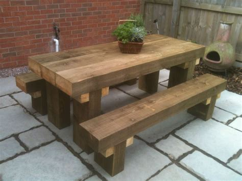 Patio Table With Bench Seating Sleeper Picnic Table Seats 6ft Chunky Tanalised Rustic Look Picnic Bench