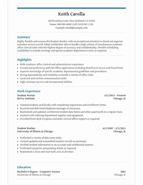 High School Cv Template Word by High School Student Resume Template For Microsoft Word