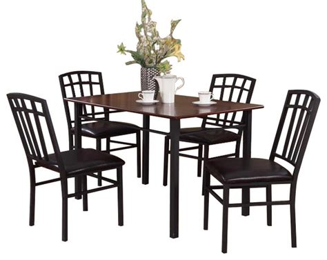 Walnut Kitchen Table And Chairs 5 Black Walnut Finish Wood Metal Dining Room Kitchen Table And 4 Chairs Dining Chairs