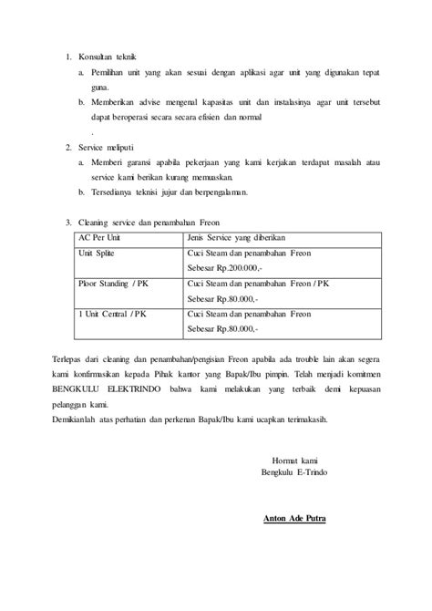 surat penawaran service ac