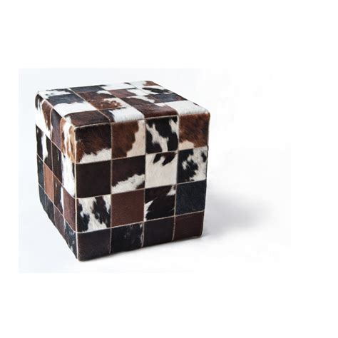 Cowhide Cubes cowhide leather brown white cube handmade by furhome kastoria