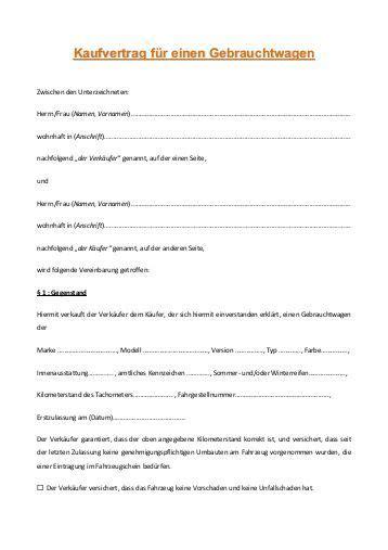 Kaufvertrag Auto Für 1 Euro by Kaufvertrag Gebrauchtwagen