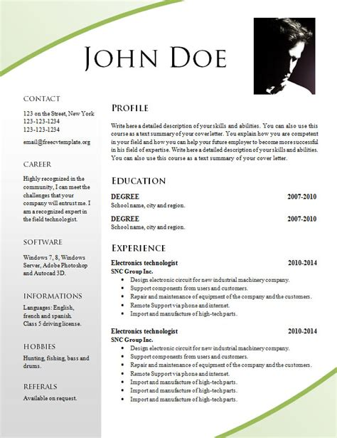 Resume Template Pdf Free by Free Resume Templates 695 701 Free Cv Template Dot Org