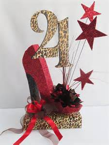 21st birthday centerpieces 21st and 50th birthday centerpieces with leopard designs