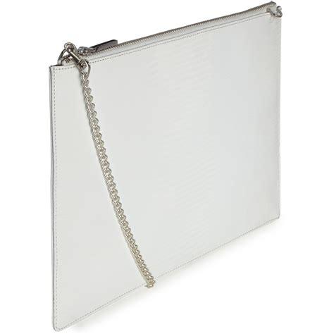 White Clutch whistles rivington fringe clutch bag in white lyst