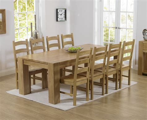 Oak Dining Table And 8 Chairs Rutland Solid Chunky Oak Furniture Large Dining Table And 8 Valencia Chairs Ebay
