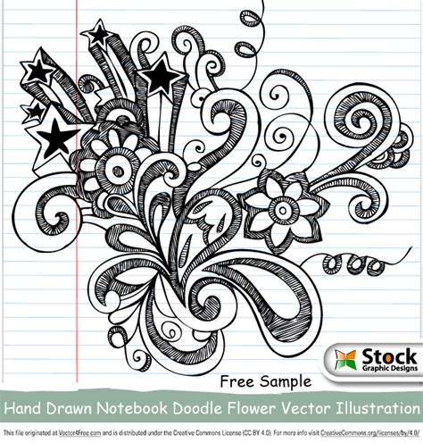 free doodle eps free notebook doodle flower vector illustration