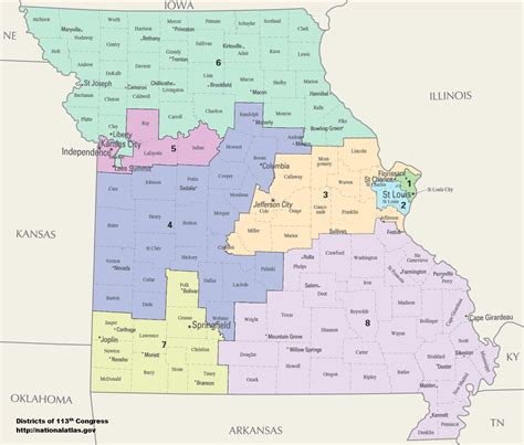 us map by congressional district missouri s congressional districts