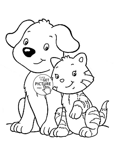 printable coloring pages of cats and dogs cat and dog coloring page for kids animal coloring pages