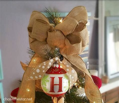 christmas bow topper diy burlap and sparkle tree