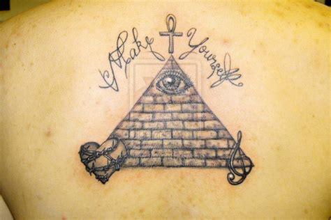tattoo of eye in pyramid black ink mayan pyramid tattoo design for upper back