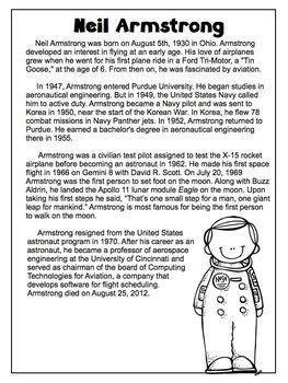 biography comprehension activity ks2 neil armstrong freebie biography article reading compreh
