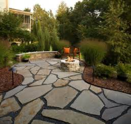 flagstone patio and natural stone fire pit traditional