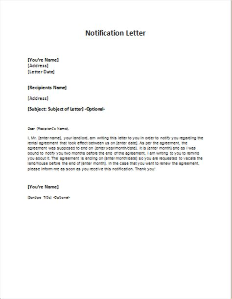 written notice letter template notification letter sle template word excel templates