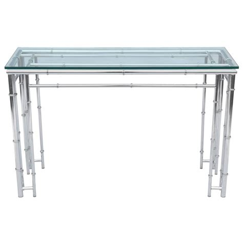 faux bamboo table l faux bamboo sofa table or console in chrome for sale at