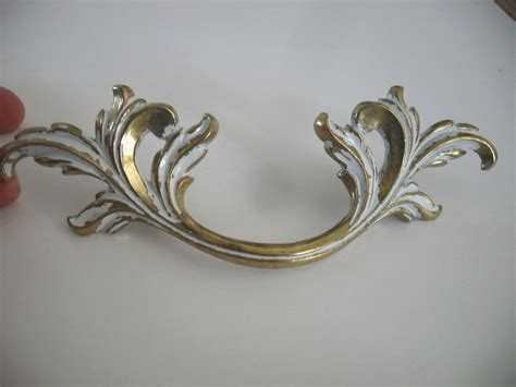 vtg nos white brass large dresser drawer pulls