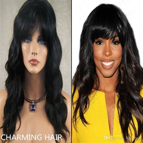 hairstyles using kanubia brazilian natural body with bangs rihanna hairstyle human hair wigs 100 unprocessed virgin