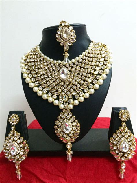 Modeschmuck Hochzeit by Indian Diamante Kundan Pearl Gold Tone Bridal