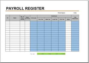 Excel Payroll Template by Free Payroll Register Template For Excel 2007 2016