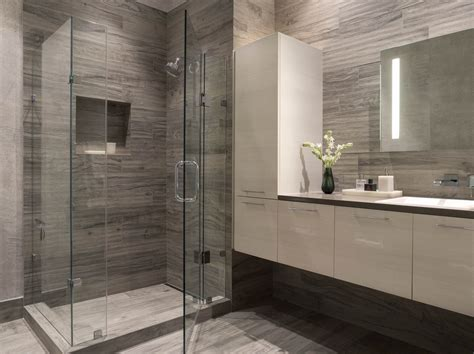 Modern Tiles Bathroom Modern Bathroom Gray White White Floating Vanity Wallpaper Tile Floors Glass Enclosed