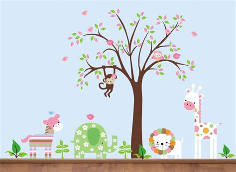 Nursery Wall Decals Animals Baby Nursery Baby Room Decoration With Brown Wooden Crib Combine With Tree And Animal Wall