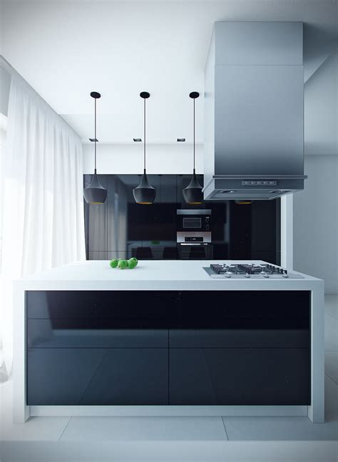 contemporary kitchen island lighting sleek modern kitchen island with black mini pendant lights