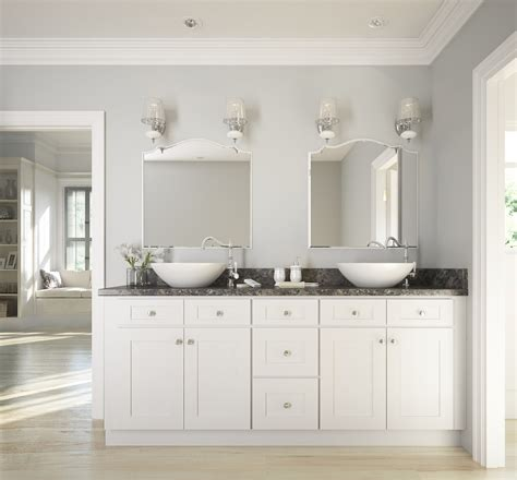 Bath Cabinets by Brilliant White Shaker Ready To Assemble Bathroom