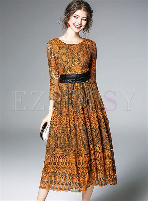 Lace Sleeve Hollow Dress With Belt lace hollow out belted skater dress ezpopsy