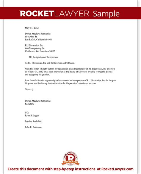 Resignation Letter Bad Terms Resignation Of Incorporator Letter Template With Sle